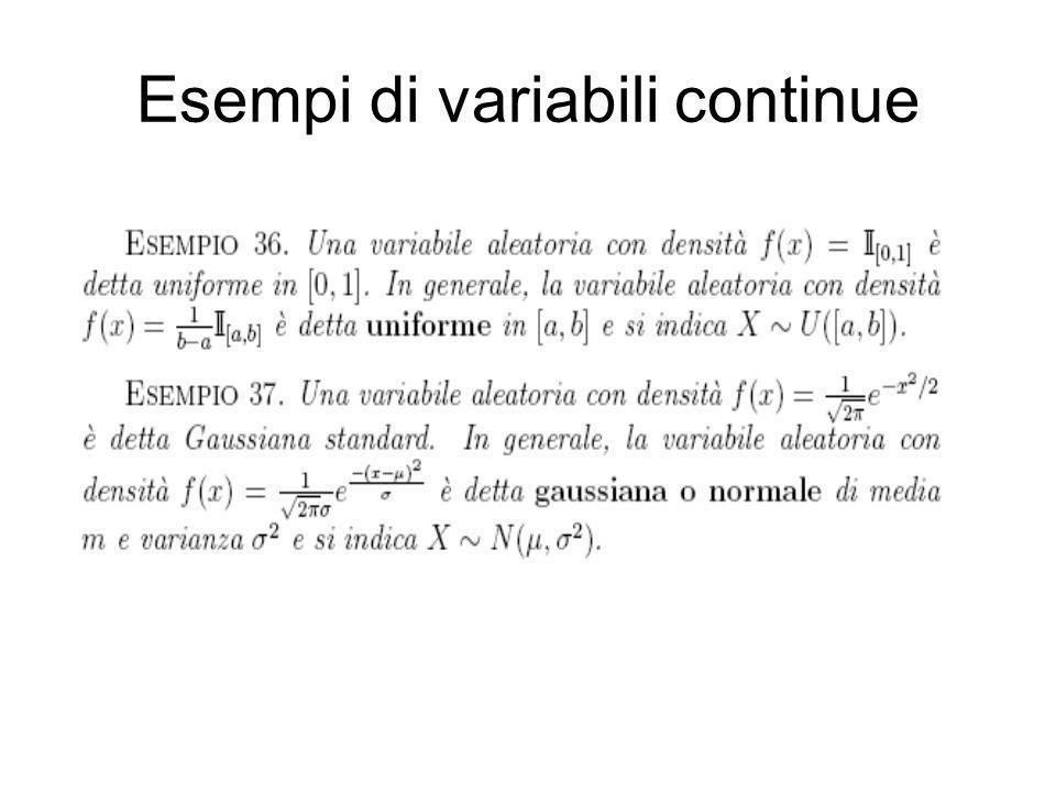 Esempi di variabili continue