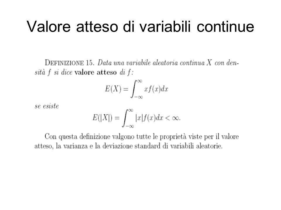 Valore atteso di variabili continue