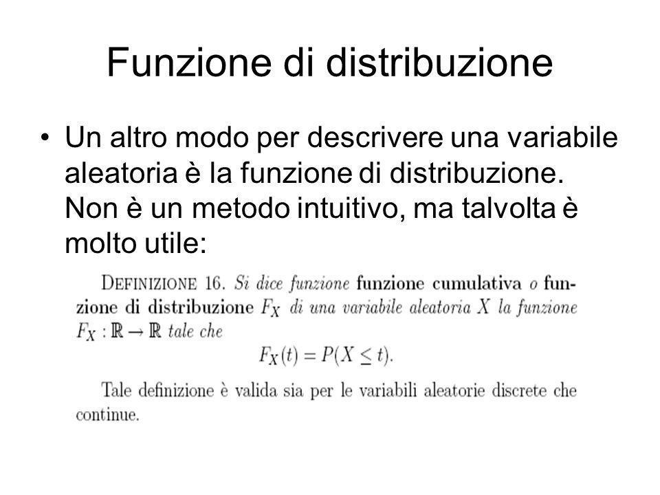 Funzione di distribuzione Un altro modo per descrivere una variabile aleatoria è la funzione di distribuzione. Non è un metodo intuitivo, ma talvolta
