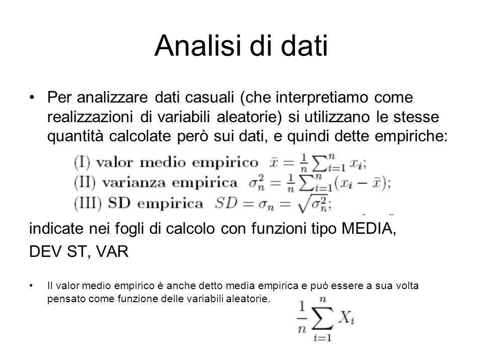 Analisi di dati Per analizzare dati casuali (che interpretiamo come realizzazioni di variabili aleatorie) si utilizzano le stesse quantità calcolate p