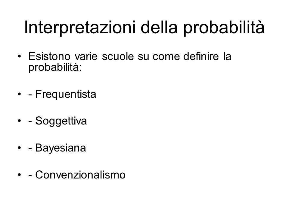 Interpretazioni della probabilità Esistono varie scuole su come definire la probabilità: - Frequentista - Soggettiva - Bayesiana - Convenzionalismo