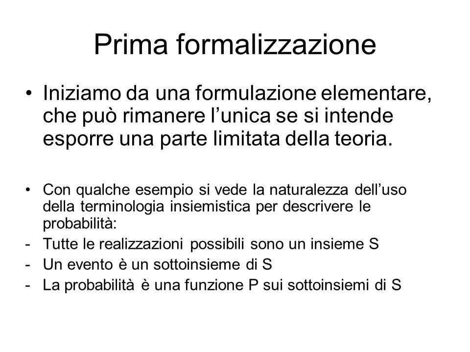 Prima formalizzazione Iniziamo da una formulazione elementare, che può rimanere lunica se si intende esporre una parte limitata della teoria. Con qual