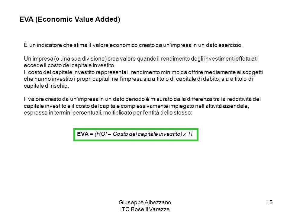Giuseppe Albezzano ITC Boselli Varazze 15 EVA (Economic Value Added) È un indicatore che stima il valore economico creato da unimpresa in un dato eser