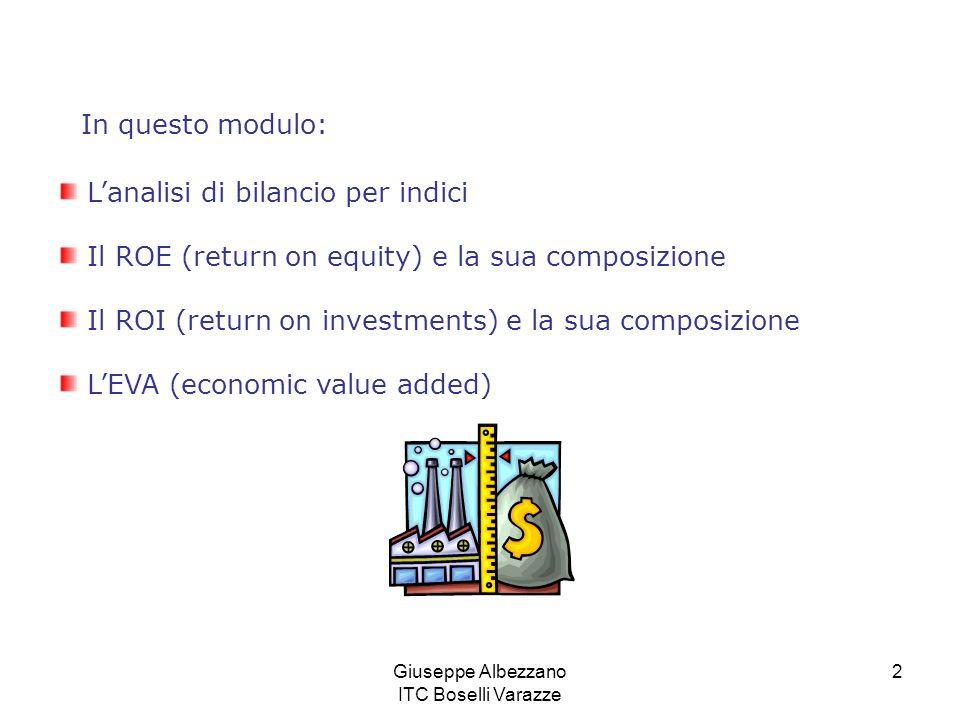 Giuseppe Albezzano ITC Boselli Varazze 2 Lanalisi di bilancio per indici Il ROE (return on equity) e la sua composizione Il ROI (return on investments