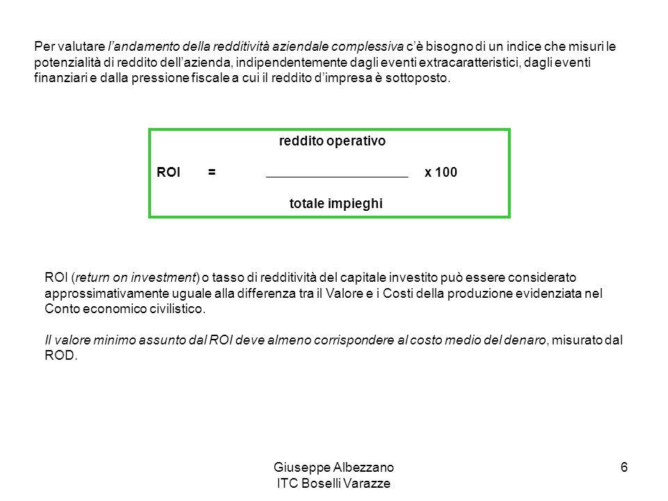 Giuseppe Albezzano ITC Boselli Varazze 6 Per valutare landamento della redditività aziendale complessiva cè bisogno di un indice che misuri le potenzi