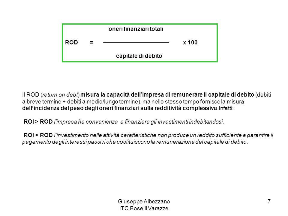 Giuseppe Albezzano ITC Boselli Varazze 7 oneri finanziari totali ROD = x 100 capitale di debito Il ROD (return on debt) misura la capacità dellimpresa