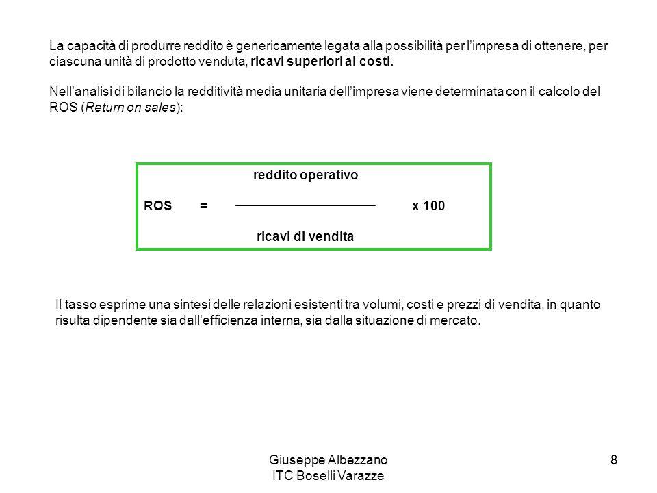 Giuseppe Albezzano ITC Boselli Varazze 9 Oltre che dal volume delle vendite (fatturato), i risultati ottenuti nel corso dellesercizio sono influenzati anche dal numero di operazioni (quantità vendute) effettuate nel periodo.
