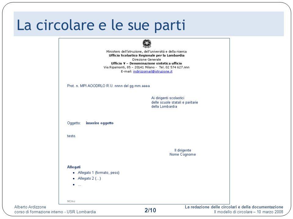 La redazione delle circolari e della documentazione Il modello di circolare – 10 marzo 2008 Alberto Ardizzone corso di formazione interno - USR Lombardia 2/10 La circolare e le sue parti