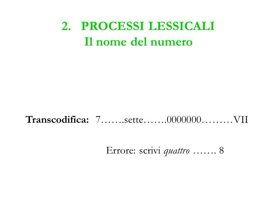 2. PROCESSI LESSICALI Il nome del numero Transcodifica: 7…….sette…….0000000………VII Errore: scrivi quattro ……. 8
