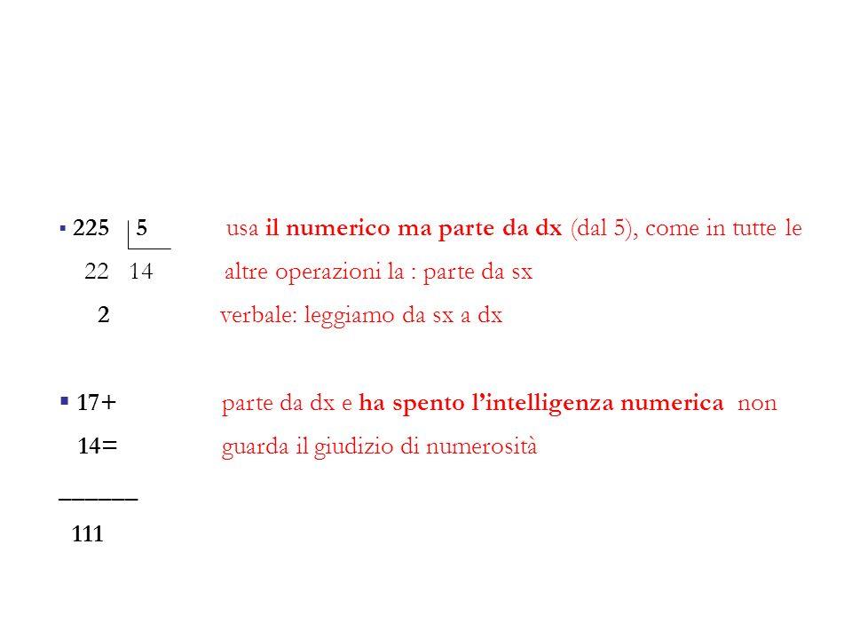 225 5 usa il numerico ma parte da dx (dal 5), come in tutte le 22 14 altre operazioni la : parte da sx 2 verbale: leggiamo da sx a dx 17+ parte da dx