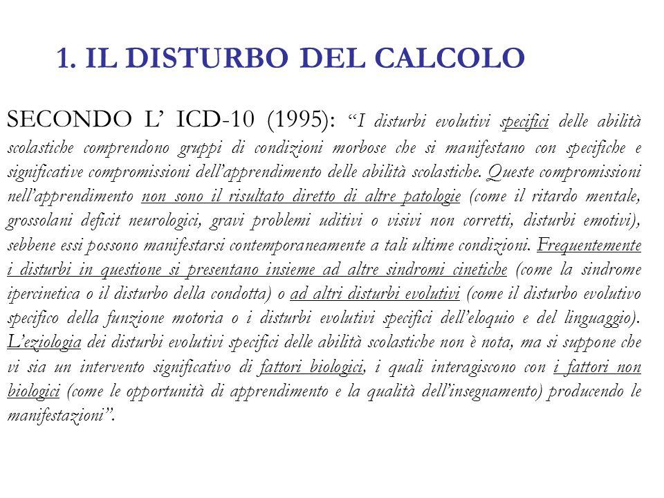 1. IL DISTURBO DEL CALCOLO SECONDO L ICD-10 (1995):I disturbi evolutivi specifici delle abilità scolastiche comprendono gruppi di condizioni morbose c