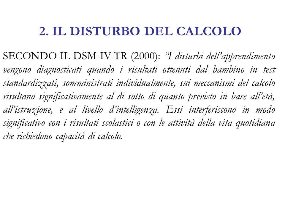 2. IL DISTURBO DEL CALCOLO SECONDO IL DSM-IV-TR (2000): I disturbi dellapprendimento vengono diagnosticati quando i risultati ottenuti dal bambino in