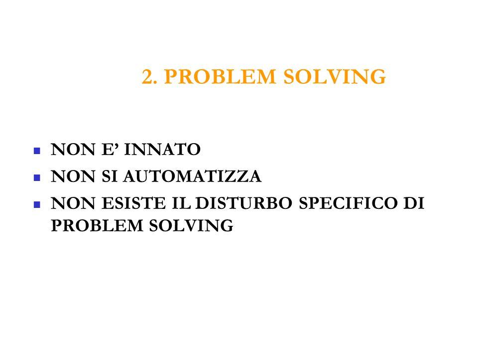 2. PROBLEM SOLVING NON E INNATO NON SI AUTOMATIZZA NON ESISTE IL DISTURBO SPECIFICO DI PROBLEM SOLVING