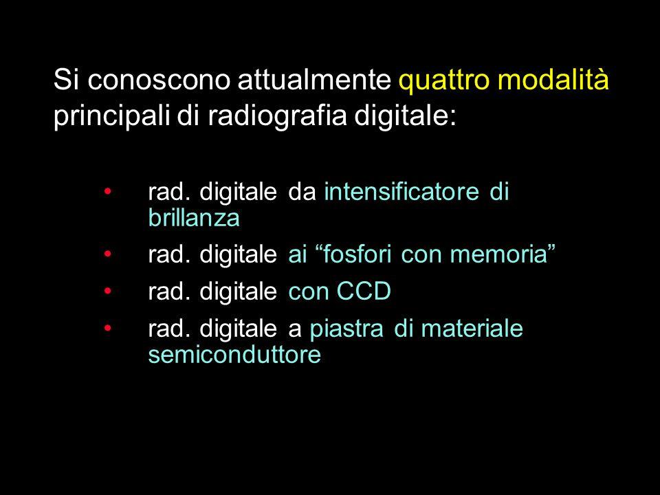 Si conoscono attualmente quattro modalità principali di radiografia digitale: rad. digitale da intensificatore di brillanza rad. digitale ai fosfori c