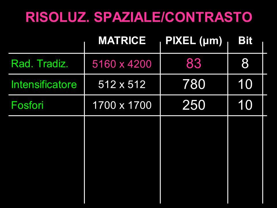 RISOLUZ. SPAZIALE/CONTRASTO Intensificatore Fosfori 512 x 512 780 250 Rad. Tradiz. 1700 x 1700 MATRICE 83 PIXEL (μm)Bit 8 10 5160 x 4200