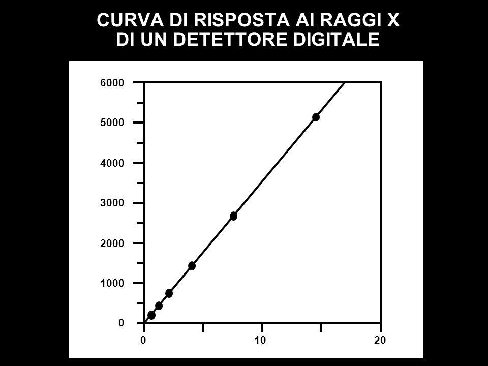 CURVA DI RISPOSTA AI RAGGI X DI UN DETETTORE DIGITALE 1000 2000 3000 4000 5000 6000 0 01020