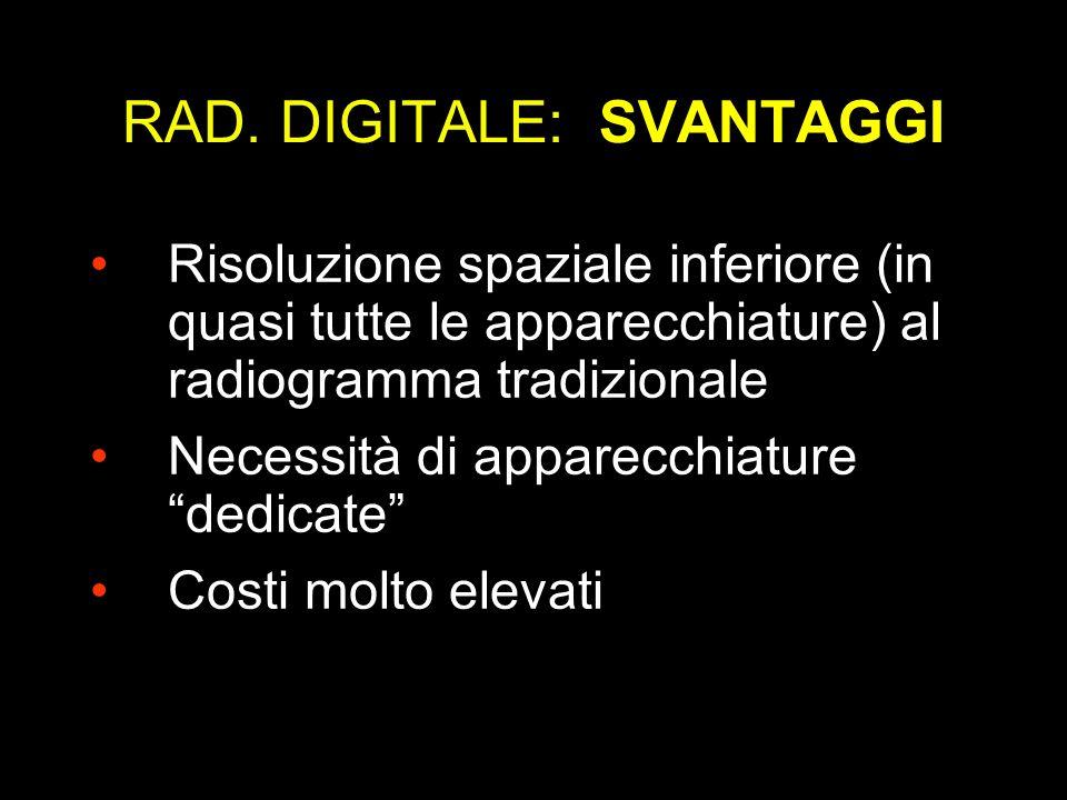 RAD. DIGITALE: SVANTAGGI Risoluzione spaziale inferiore (in quasi tutte le apparecchiature) al radiogramma tradizionale Necessità di apparecchiature d