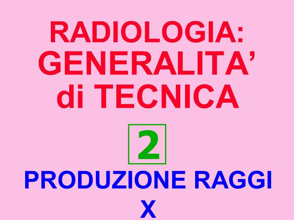 RADIOLOGIA: GENERALITA di TECNICA 2 PRODUZIONE RAGGI X