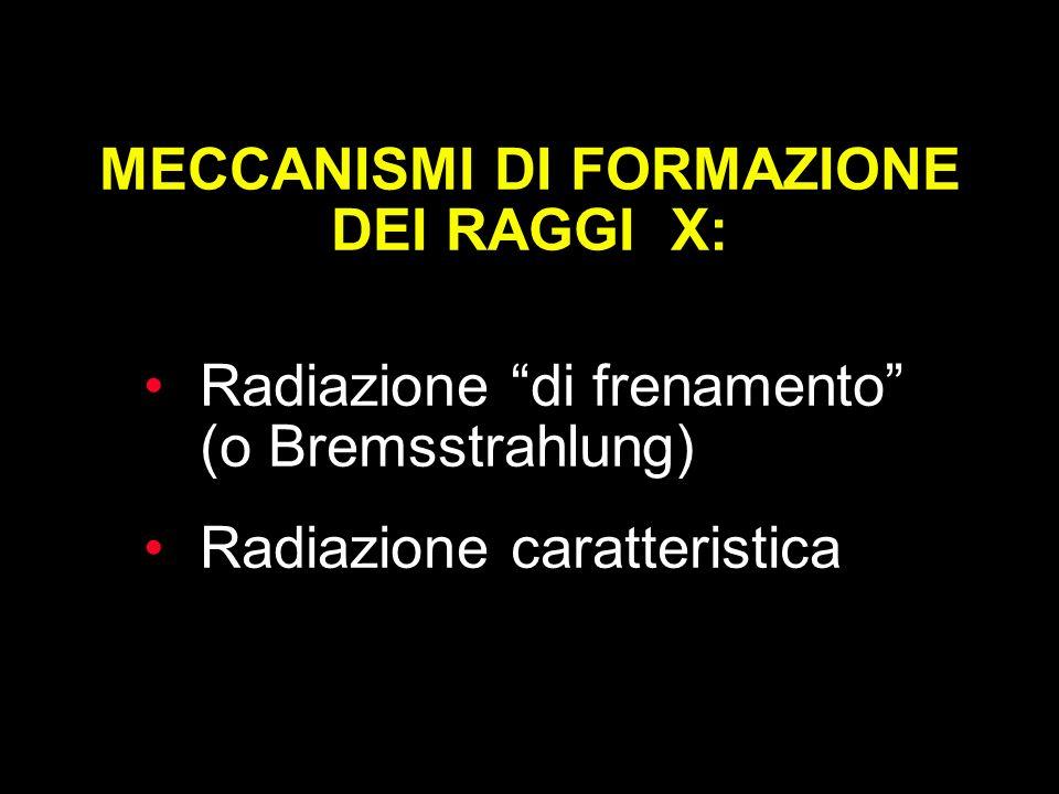 MECCANISMI DI FORMAZIONE DEI RAGGI X: Radiazione di frenamento (o Bremsstrahlung) Radiazione caratteristica