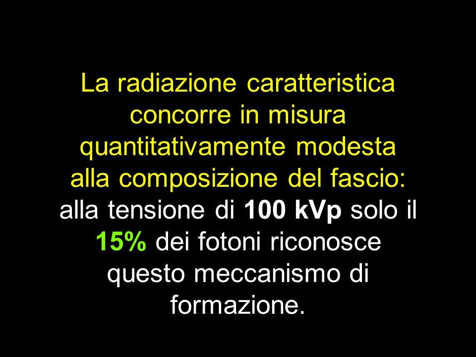 La radiazione caratteristica concorre in misura quantitativamente modesta alla composizione del fascio: alla tensione di 100 kVp solo il 15% dei foton