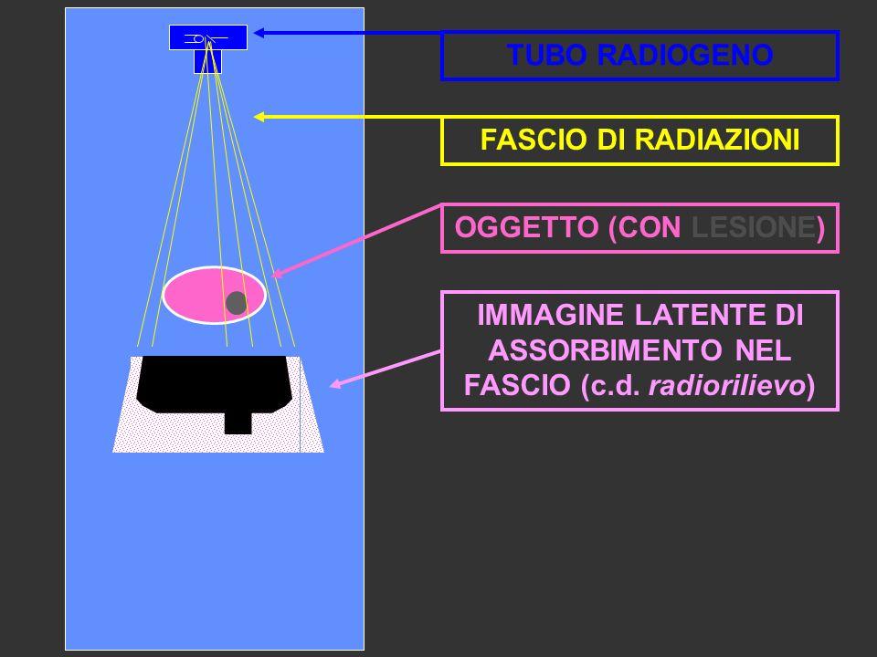 IMMAGINE LATENTE DI ASSORBIMENTO NEL FASCIO (c.d. radiorilievo) OGGETTO (CON LESIONE) TUBO RADIOGENO FASCIO DI RADIAZIONI