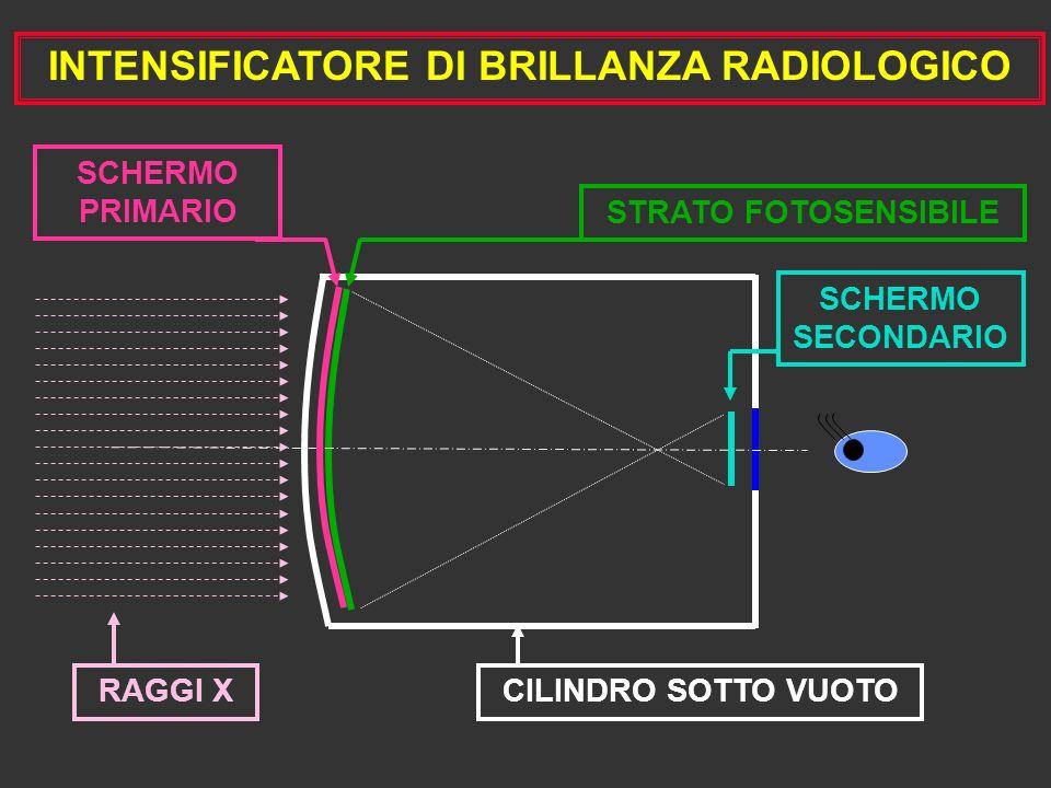 INTENSIFICATORE DI BRILLANZA RADIOLOGICO RAGGI X CILINDRO SOTTO VUOTO STRATO FOTOSENSIBILE SCHERMO SECONDARIO SCHERMO PRIMARIO