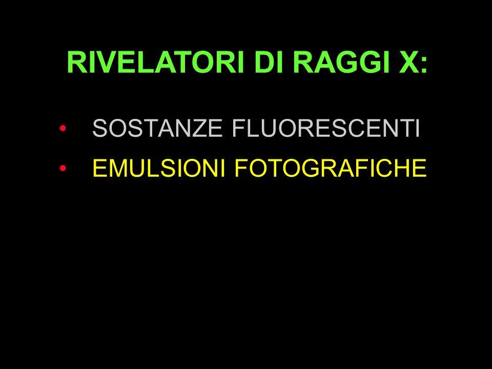 SOSTANZE FLUORESCENTI EMULSIONI FOTOGRAFICHE CRISTALLI FOTOEMITTENTI CAMERE DI IONIZZAZIONE CAMPI ELETTRICI RIVELATORI DI RAGGI X: