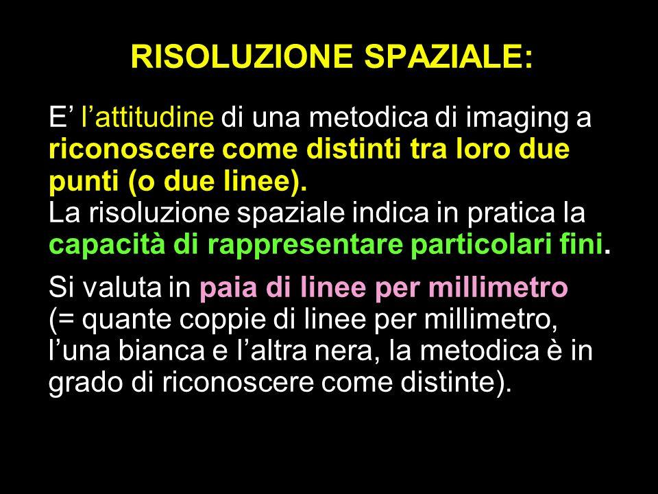 RISOLUZIONE SPAZIALE: E lattitudine di una metodica di imaging a riconoscere come distinti tra loro due punti (o due linee). La risoluzione spaziale i