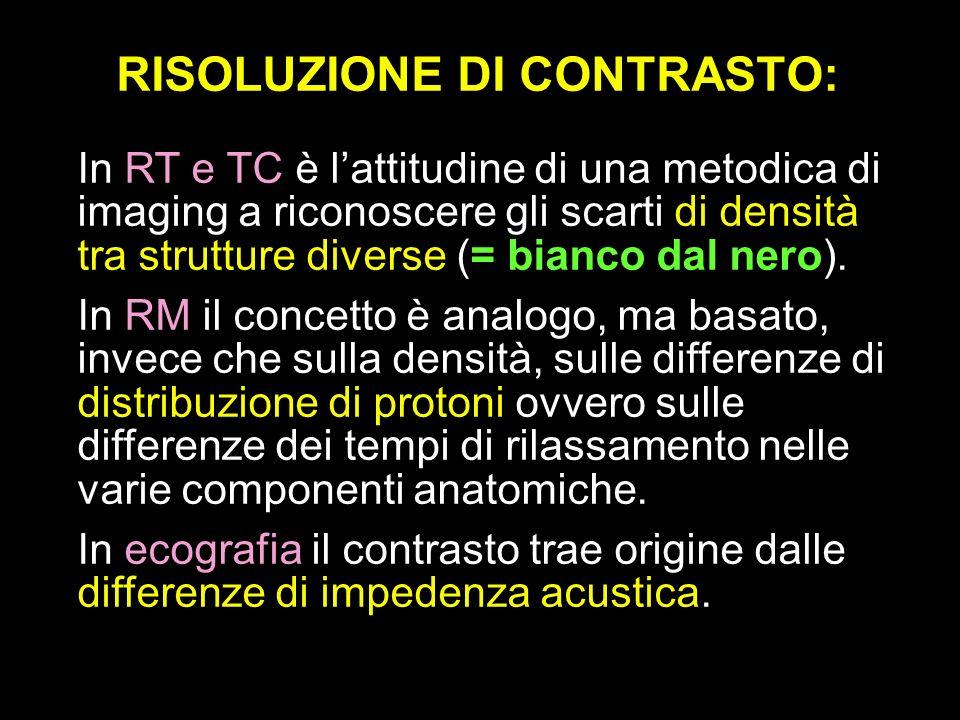RISOLUZIONE DI CONTRASTO: In RT e TC è lattitudine di una metodica di imaging a riconoscere gli scarti di densità tra strutture diverse (= bianco dal