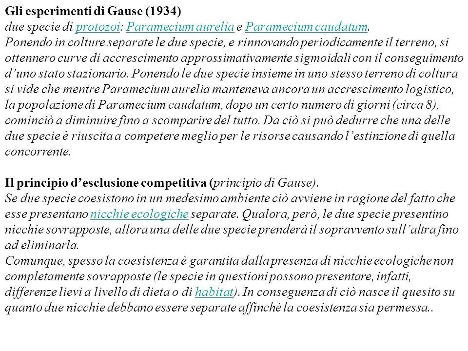 Gli esperimenti di Gause (1934) due specie di protozoi: Paramecium aurelia e Paramecium caudatum. Ponendo in colture separate le due specie, e rinnova