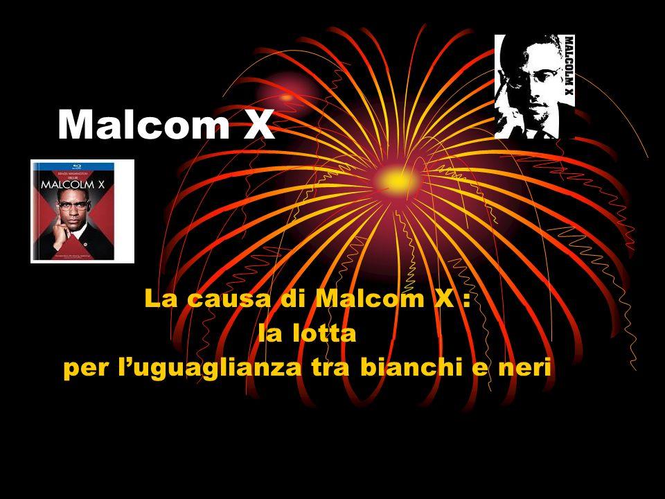 Malcom X La causa di Malcom X : la lotta per luguaglianza tra bianchi e neri