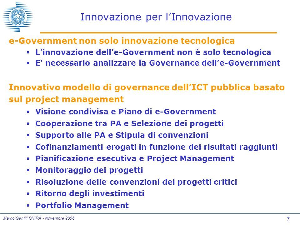 18 Marco Gentili CNIPA - Novembre 2006 Stato di Avanzamento Lavori Risultati conseguiti Ritorno degli investimenti Dati aggiornati a Settembre 2006