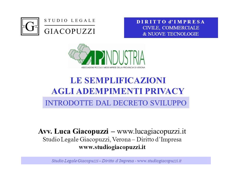 Studio Legale Giacopuzzi – Diritto d'Impresa – www.studiogiacopuzzi.it Studio Legale Giacopuzzi – Diritto dImpresa - www.studiogiacopuzzi.it LE SEMPLI