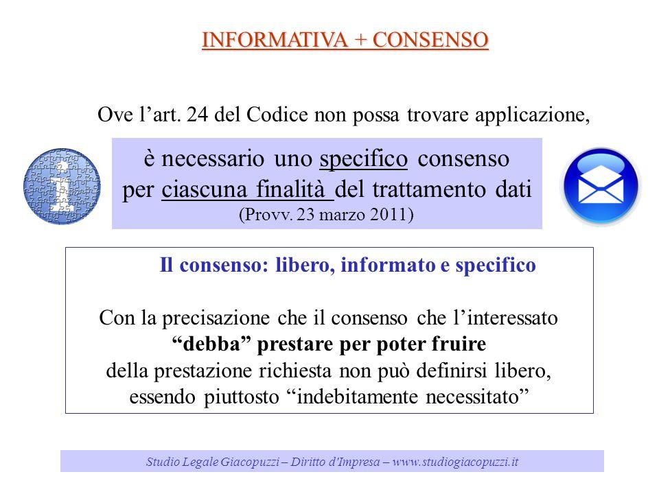 Studio Legale Giacopuzzi – Diritto d'Impresa – www.studiogiacopuzzi.it INFORMATIVA + CONSENSO è necessario uno specifico consenso per ciascuna finalit