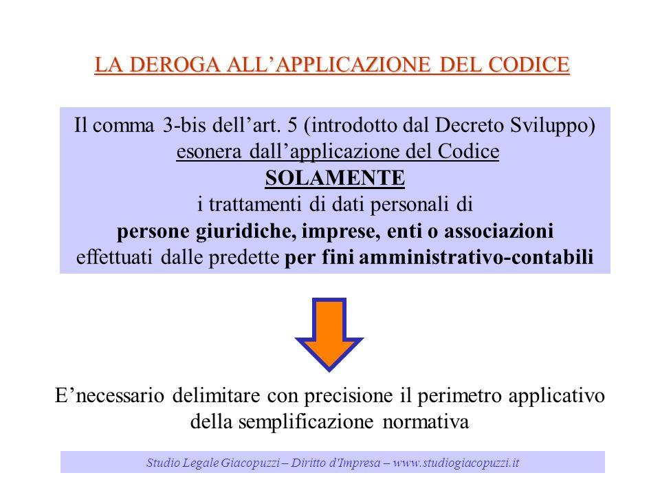 Studio Legale Giacopuzzi – Diritto d'Impresa – www.studiogiacopuzzi.it LA DEROGA ALLAPPLICAZIONE DEL CODICE Il comma 3-bis dellart. 5 (introdotto dal