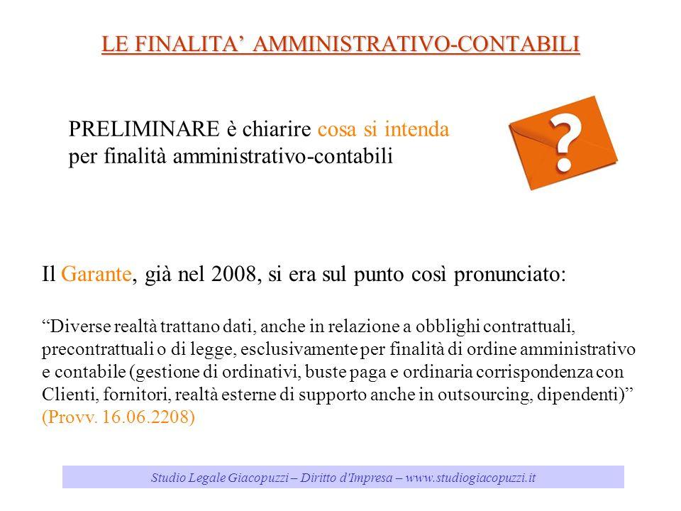 Studio Legale Giacopuzzi – Diritto d'Impresa – www.studiogiacopuzzi.it LE FINALITA AMMINISTRATIVO-CONTABILI PRELIMINARE è chiarire cosa si intenda per