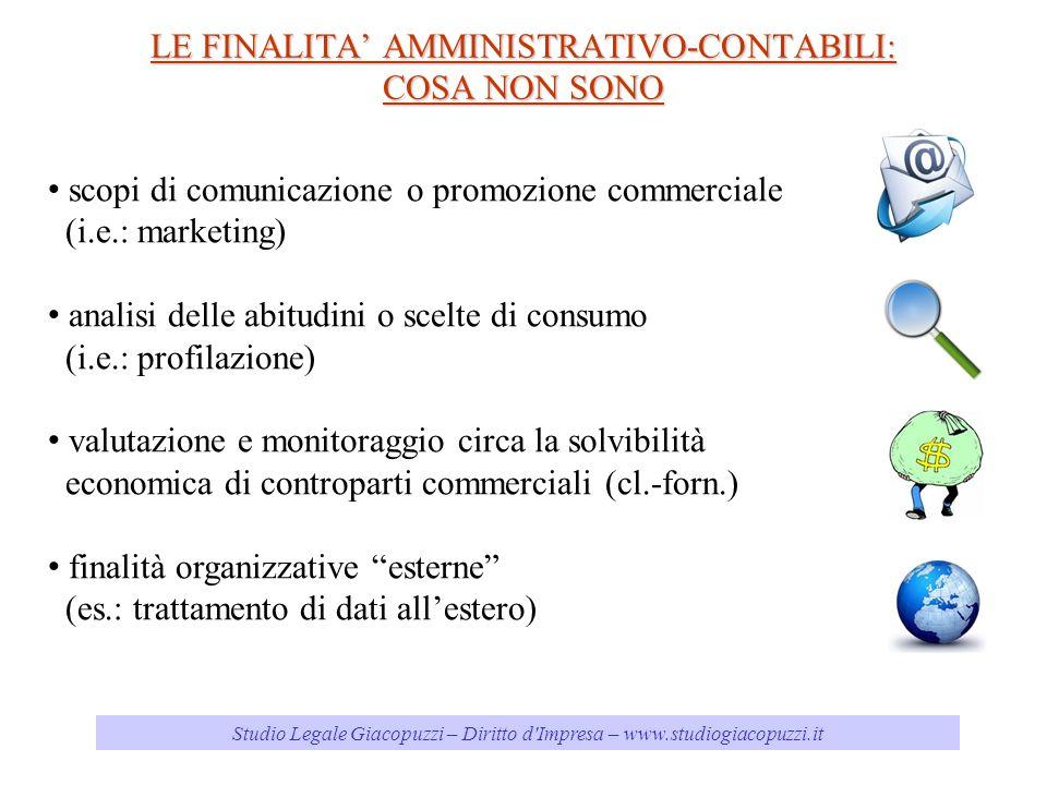 Studio Legale Giacopuzzi – Diritto d'Impresa – www.studiogiacopuzzi.it LE FINALITA AMMINISTRATIVO-CONTABILI: COSA NON SONO scopi di comunicazione o pr