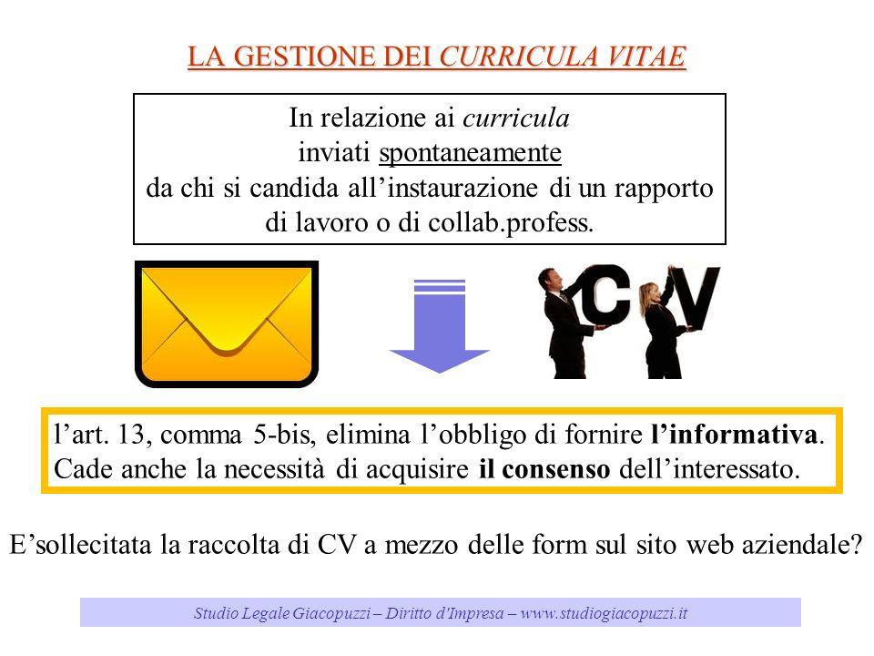 LA GESTIONE DEI CURRICULA VITAE Studio Legale Giacopuzzi – Diritto d'Impresa – www.studiogiacopuzzi.it lart. 13, comma 5-bis, elimina lobbligo di forn