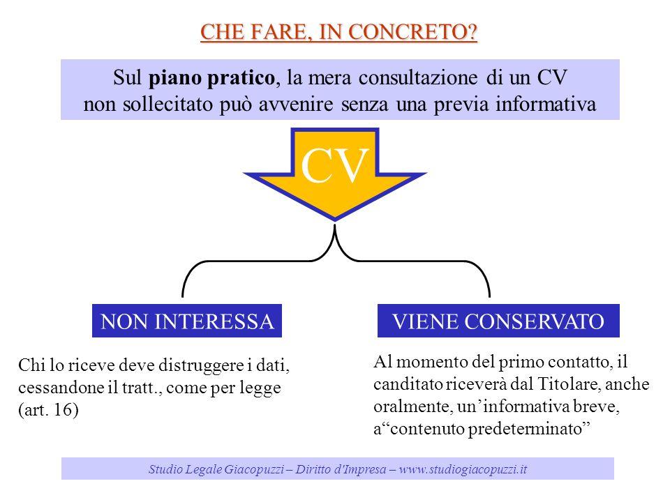 Studio Legale Giacopuzzi – Diritto d'Impresa – www.studiogiacopuzzi.it CHE FARE, IN CONCRETO? Sul piano pratico, la mera consultazione di un CV non so