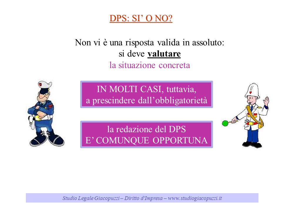 Studio Legale Giacopuzzi – Diritto d'Impresa – www.studiogiacopuzzi.it DPS: SI O NO? Non vi è una risposta valida in assoluto: si deve valutare la sit