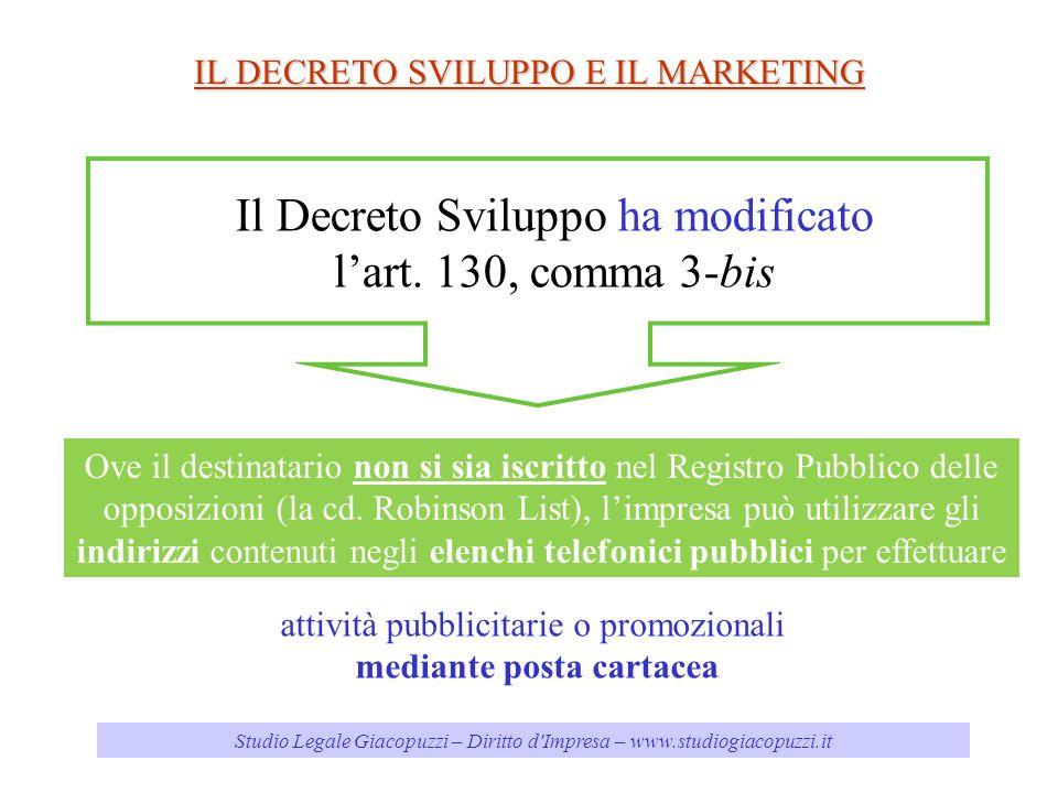 Studio Legale Giacopuzzi – Diritto d'Impresa – www.studiogiacopuzzi.it IL DECRETO SVILUPPO E IL MARKETING Il Decreto Sviluppo ha modificato lart. 130,