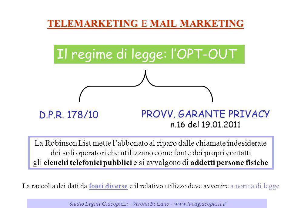 Studio Legale Giacopuzzi – Verona Bolzano – www.lucagiacopuzzi.it TELEMARKETING E MAIL MARKETING Il regime di legge: lOPT-OUT D.P.R. 178/10 PROVV. GAR