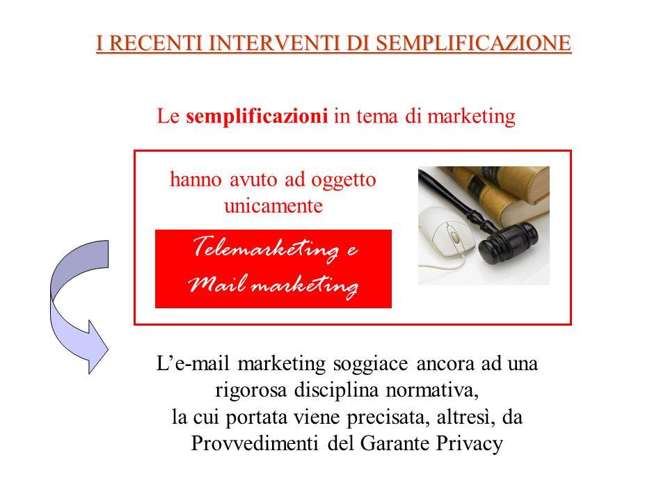 I RECENTI INTERVENTI DI SEMPLIFICAZIONE Le semplificazioni in tema di marketing Telemarketing e Mail marketing Le-mail marketing soggiace ancora ad un