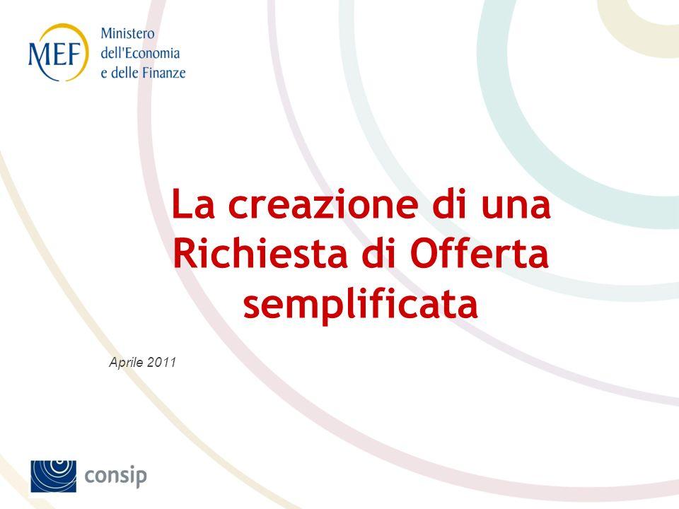 Aprile 2011 La creazione di una Richiesta di Offerta semplificata