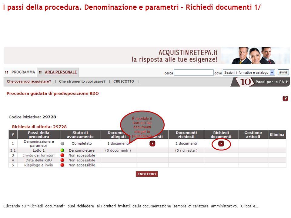 Cliccando su Richiedi documenti puoi richiedere ai Fornitori invitati della documentazione sempre di carattere amministrativo. Clicca e… I passi della