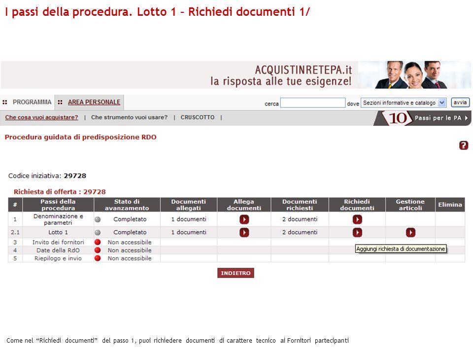 I passi della procedura. Lotto 1 – Richiedi documenti 1/ Come nel Richiedi documenti del passo 1, puoi richiedere documenti di carattere tecnico ai Fo