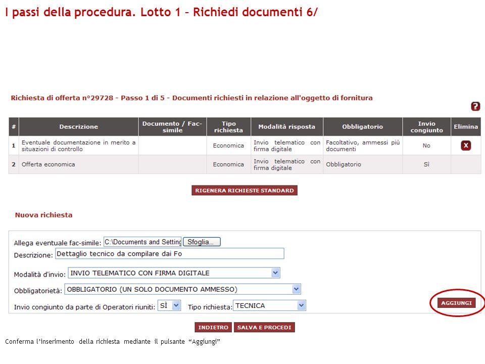 I passi della procedura. Lotto 1 – Richiedi documenti 6/ Conferma linserimento della richiesta mediante il pulsante Aggiungi