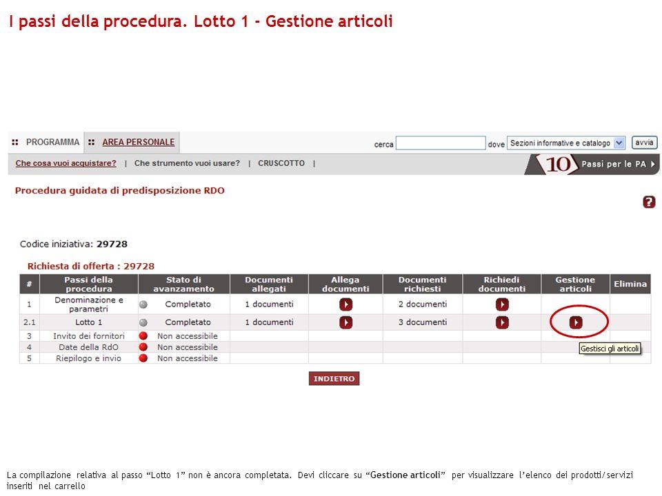 La compilazione relativa al passo Lotto 1 non è ancora completata. Devi cliccare su Gestione articoli per visualizzare lelenco dei prodotti/servizi in