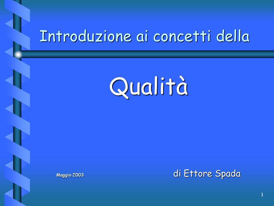 1 Introduzione ai concetti della Qualità Maggio 2003 di Ettore Spada