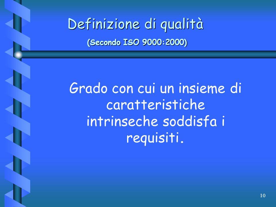 10 Definizione di qualità (Secondo ISO 9000:2000) Grado con cui un insieme di caratteristiche intrinseche soddisfa i requisiti.